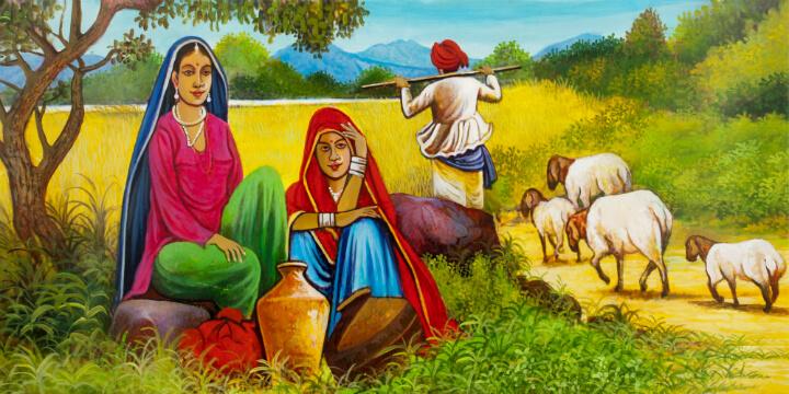 משפחת מגדלי צאן בכפר ברג'סטאן. איור: Art Amori / Shutterstock.com