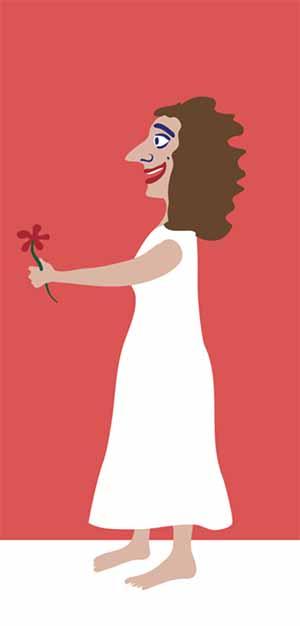 אישה מחזיקה פרח. איור: דותן מורנו